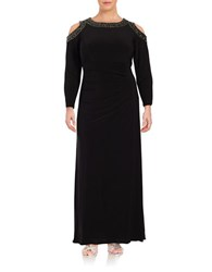 Xscape Evenings Plus Cold Shoulder Beaded Ruched Gown Black Gold