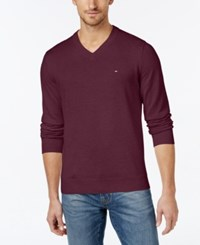 Tommy Hilfiger Men's Big And Tall Signature Solid V Neck Sweater Tawny Port