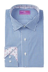 Lorenzo Uomo Long Sleeve Trim Fit Check Print Dress Shirt Blue