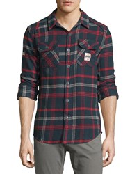Superdry Plaid Flannel Button Front Shirt Midnight Check