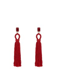 Oscar De La Renta Crystal Embellished Silk Tassel Long Earrings Red