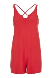 Topshop Red Jersey Playsuit Red