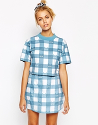 Lazy Oaf Cropped T Shirt With All Over Gingham Cat Print Co Ord Multi