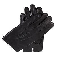 Dents Mens Leather Gloves With Fleece Lining Black