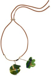 Marni Leather Gold Tone And Horn Necklace Leaf Green
