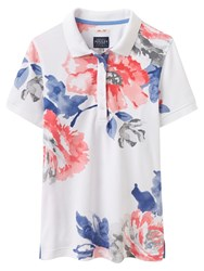 Joules Trinity Slim Fit Floral Print Polo Shirt Bright White Rose