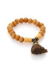 Jonesy Wood Buri Janie Bone Vinyl And Cotton Beaded Tassel Bracelet Mustard