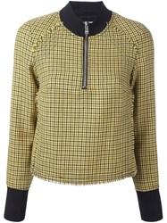 3.1 Phillip Lim High Collar Houndstooth Top Yellow And Orange