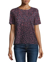Diane Von Furstenberg Val Short Sleeve Arrow Heart Cotton Tee Black Women's Size Large Arrow Heart Black