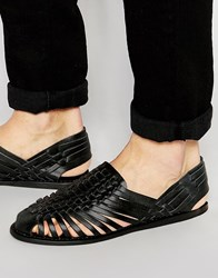 Asos Woven Sandals In Black Leather Black