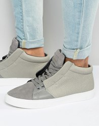 Criminal Damage Soho Mid Top Trainers Grey