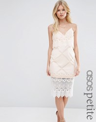 Asos Petite Lace Scallop Crop Top Pencil Dress Nude And Ivory White