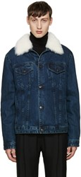 Yves Salomon Indigo Denim And Shearling Jacket