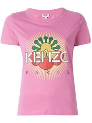 Kenzo Sun Logo Print T Shirt Pink And Purple