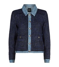 Juicy Couture Denim Tweed Insert Boucle Jacket Female