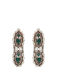 Shourouk Crystal Embellished Clip On Drop Earrings Green