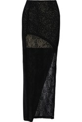 Alice Olivia Rhett Wrap Effect Crochet Knit Maxi Skirt Black