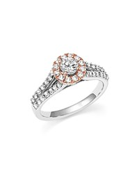 Bloomingdale's Diamond Halo Engagement Ring In 14K White And Rose Gold 1.0 Ct. T.W. White Rose