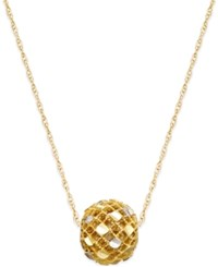 Macy's Textured Filigree Spinner Bead Pendant Necklace In 10K Gold And White Gold