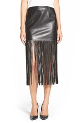 Trouve Women's Trouve Faux Leather Fringe Skirt