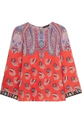Etro Printed Silk Crepe De Chine Top Coral