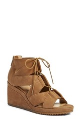 Eileen Fisher Women's 'Dibs' Lace Up Wedge Sienna Nubuck Leather