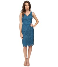 Nue By Shani V Neck Lace Dress With Built In Shapewear Azure Blue Women's Dress Multi