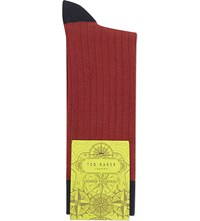 Ted Baker Ribbed Colourblock Cotton Socks Red