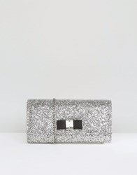 Carvela Glitter Clutch Bag With Bow Silver