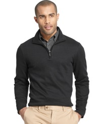 Van Heusen Big And Tall Heathered Quarter Zip Pullover Sweater Black