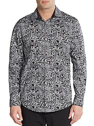 Saks Fifth Avenue Regular Fit Paisley Print Cotton Sportshirt Black