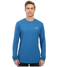 The North Face Long Sleeve Red Box Tee Banff Blue Mid Grey Men's Long Sleeve Pullover