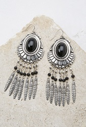 Forever 21 Etched Feather Duster Earrings B.Silver Black