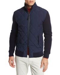 Ermenegildo Zegna Quilted Full Zip Sweater Nvy Sld