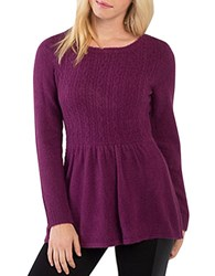 Kensie Warm Touch Cable Knit Crewneck Peplum Sweater Purple