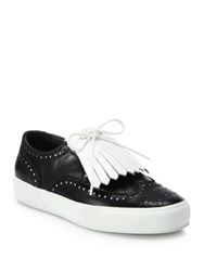 Robert Clergerie Tolka Leather Kiltie Sneakers White Black