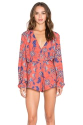 Pink Stitch Jet Set Romper Rust