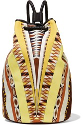 Emilio Pucci Leather Trimmed Printed Canvas Backpack Yellow