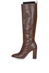 Leather High Leg Boots By Unique Brown