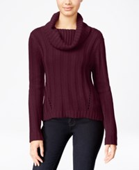 Hooked Up By Iot It's Our Time Juniors' Rib Knit Cowl Neck Sweater Wine