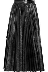 Valentino Pleated Cracked Leather Wrap Skirt Black