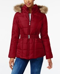 Rampage Faux Fur Trim Hooded Belted Puffer Coat Only At Macy's Red