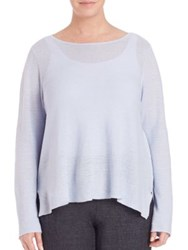 Eileen Fisher Plus Size Linen Links Boatneck Boxy Top Delfina Mustard