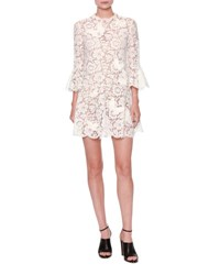 Valentino Butterfly Guipure Lace 3 4 Sleeve Dress White