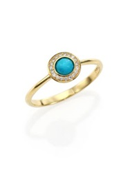 Ippolita Lollipop Turquoise Diamond And 18K Yellow Gold Mini Ring Gold Turquoise