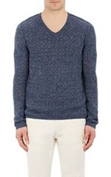 John Varvatos Star U.S.A. Mixed Stitch V Neck Sweater Blue