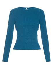 Emilia Wickstead Heidi Cut Out Sides Ribbed Knit Sweater Blue