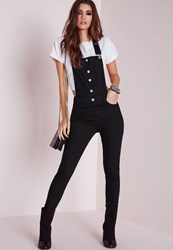 Missguided Skinny Dungarees Washed Black Black