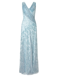 Ariella Juliet Sequin Maxi Dress Silver Blue