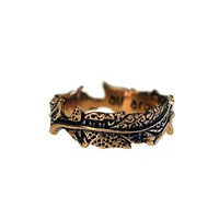 House Of Alaia Fabrics Of Life Small Feather Ring Antiqued Bronze